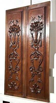 Pair Hand Carved Wood Panel Antique French Scroll Leaves Architectural Salvage
