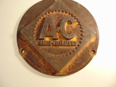 "Older heavy round ""Allis Chalmers""  steel equipment plate or cover"