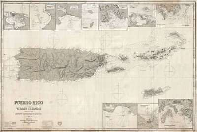 1879 Imray Nautical Chart or Map of Puerto Rico and the Virgin Islands