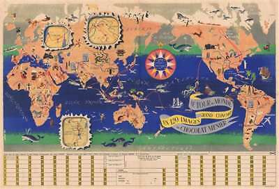 1956 J. B. Jannot Chocolates Menier Pictorial Map of the World