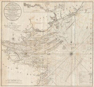 1800 George Burn Nautical Chart of the Thames River Entrance, England