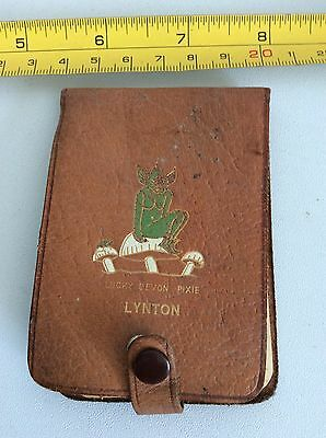 OLD RETRO VINTAGE 60s LUCKY DEVON PIXIE LYNTON LEATHER NOTEBOOK CASE WALLET USED