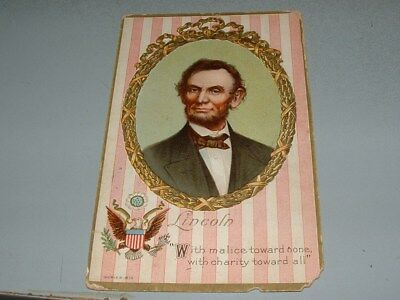 """1911 Abraham Lincoln Patriotic Postcard """"Malice Towards None"""" Gold Trim Embossed"""
