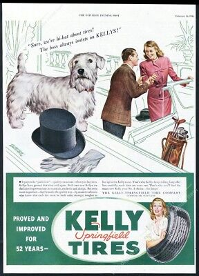 1946 Sealyham Terrier art Kelly Springfield Tires vintage print ad
