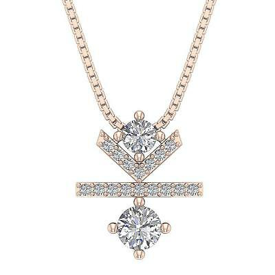 Natural Diamond SI1 H 0.85Ct Solitaire Fashion Pendant Necklace 14Kt Solid Gold