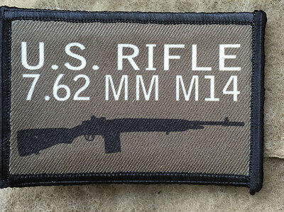 M14 Morale Patch Tactical Military Army Badge Hook Flag USA  M1A 308 Rifle