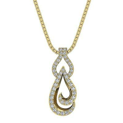 Round Cut Diamond SI1 H 0.25Ct 14K Solid Gold Fashion Pendant Necklace Prong Set