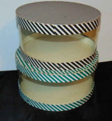 """Vintage Women's Hat Boxes Stripes on Clear Plastic Round 12"""" & 13"""""""