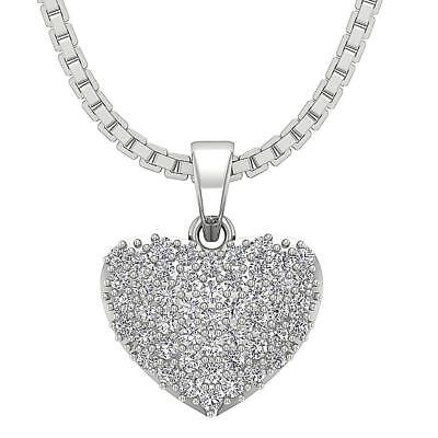 Heart Pendant Necklace 0.60 Inch 0.55Ct SI1 H Round Diamond Pave Set White Gold