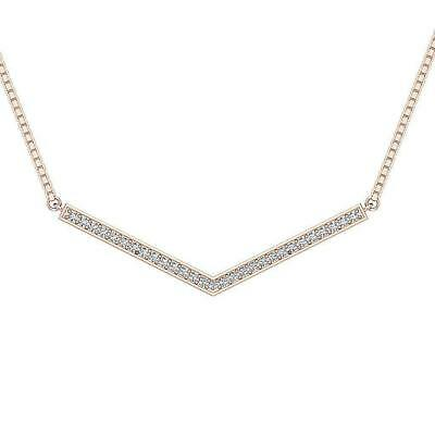 "SI1 H Natural Diamond 0.20Ct ""V"" Pendant Necklace Rose Gold Appraisal Prong Set"