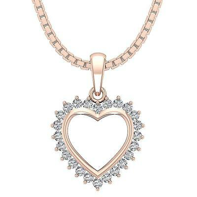 Natural Diamond VS1 F 0.45Carat 14Kt Rose Gold Heart Pendant Necklace Appraisal
