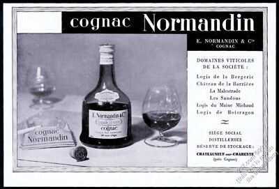 1940 Normandin Cognac bottle snifter ashtray photo French vintage print ad