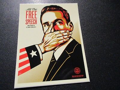 "SHEPARD FAIREY Obey Giant ALL THE FREE SPEECH Sticker 4 X 3"" art from poster"