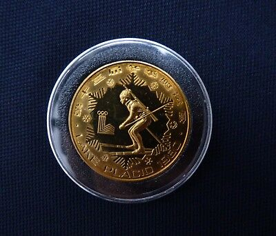 China 1980 Lake Placid Olympic 1 Yuan Biathion Proof
