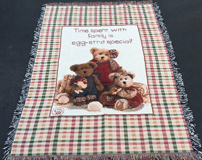 Boyds Bears Time Spent With Family is Egg-Stra Special Tapestry Afghan Throw