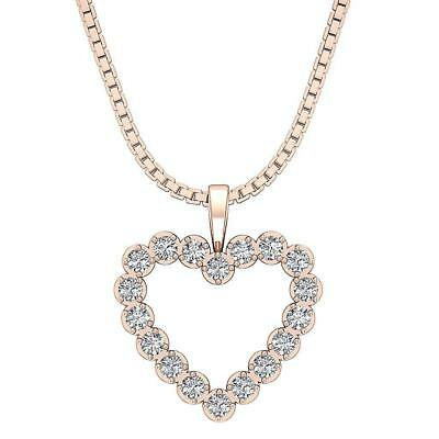 14Kt Solid Gold SI1 H 1.01Carat Genuine Diamond Pave Set Heart Pendant Necklace