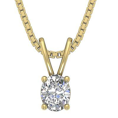 Solitaire Pendant Necklace Oval Natural Diamond SI2 E 0.55Carat 14Kt Solid Gold