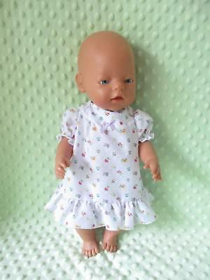 Dolls Nighty  suitable Baby Born - Cabbage White small flowers LAST ONE