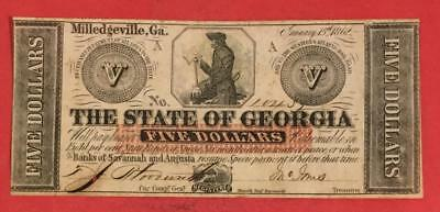 1862 $10 US State of Georgia Choice XF Crispness Old US Paper Currency