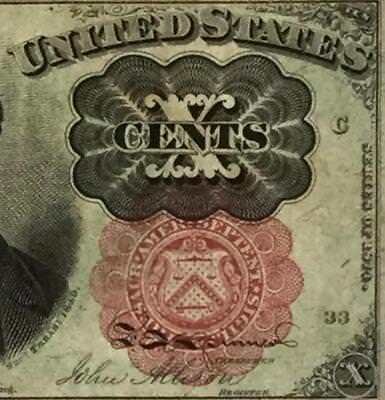 """1874 US Fractional Currency """"TEN CENTS"""" Choice VF! Old US Currency"""