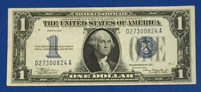 """1934 $1 Blue """"FUNNY BACK"""" Choice VF X824 Old US Paper Money Currency Nice!"""