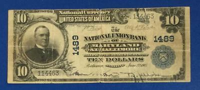 """1902 $10 Blue NATional LARGE SIZE """"BALTIMORE, MARYLAND"""" Old US Currency"""