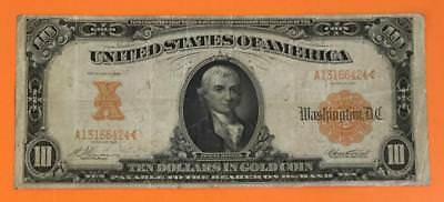 """1907 $10 US """"GOLD Certificate"""" LARGE SIZE Currency CHOICE FINE! NICE! Currency"""