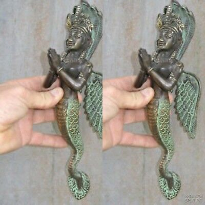 """2 praying Dewi brass door aged green old style house PULL handle 12"""" wing B"""