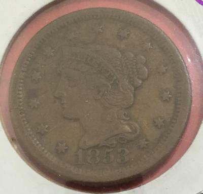 1853 US LARGE CENT! Extra Fine! Old US Coins!