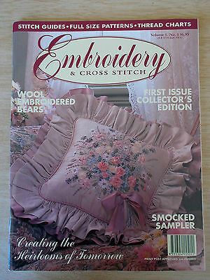 Embroidery & Cross Stitch Vol 1 #1~Pansies~Smocked Sampler~3 Bears~Bassinette