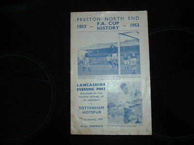 Preston North End V Tottenham - Fa Cup 4Th Round 1952/53 - Evening Post Souvenir