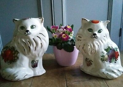 Pair of Mantel Mantle Fireplace Cats,  Decorative. Vintage Style.Ornament Decor
