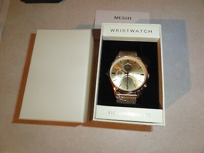Mens Formal Business Watch By Megir Gold Color Stainless Steel Water Resistant