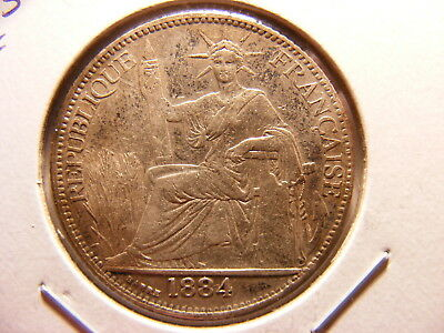French Indo China 1884-A, Silver 20 Centimes, KM#5, XF