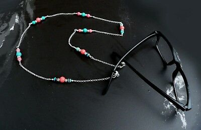 Genuine Turquoise Pink Coral Sterling Silver P. Eye Glass Chain Holder