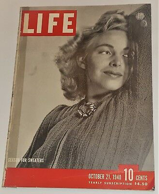 October 21, 1940 LIFE Magazine Complete Oct. Old 40s ads ad FREE SHIPPING 10
