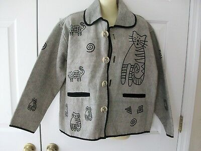 Venus Imports Adorable CAT Jacket Coat ~CAT BUTTONS Too~Size M
