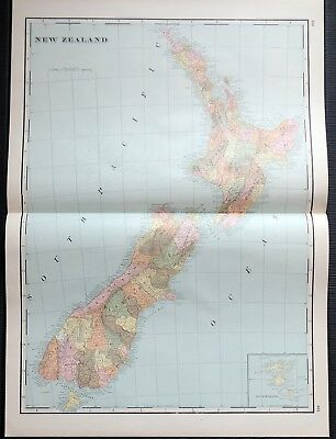 Crams Railway System Atlas Map New Zealand Interoceanic Canal 1895