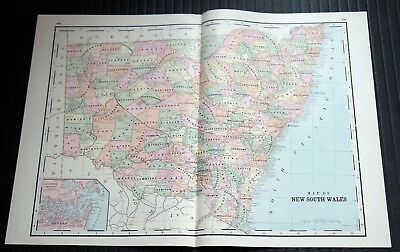 Crams Railway System Atlas Map New South Wales New Guinea West Australia 1895
