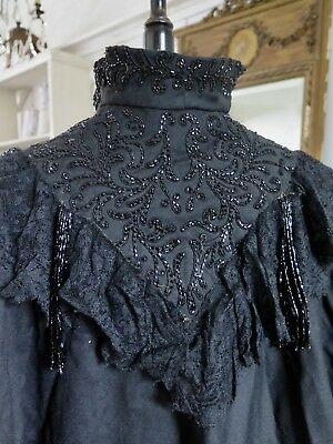 FRANKREICH 19. Jhd. Antique Victorian CAPE Pelerine Beaded  french