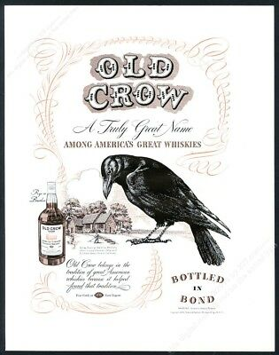 1939 Old Crow Bourbon whiskey big black bird & distillery spring house print ad