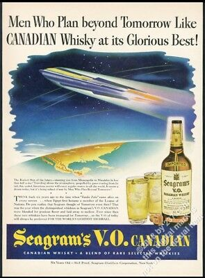 1943 streamlined future rocket art Seagram's VO Whisky vintage print ad