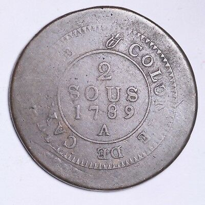 1789-A CAYENNE COLONY2 Sous Nice Foreign Coin!FREE SHIPPING