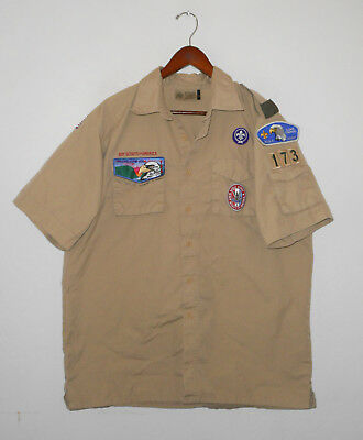 BOY SCOUTS Of America UNIFORM Shirt #173 w/ Patches Scout Adult Mens : LG