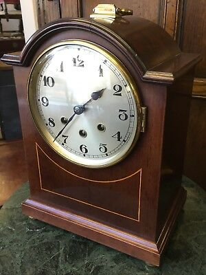 Edwardian Mahogany Westminster ChImes Bravingtons London Mantel Bracket Clock