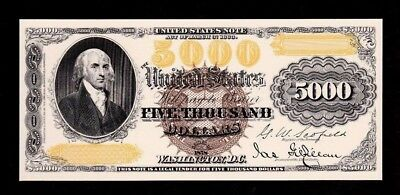 Proof Print or Intaglio Impression by BEP Face of 1878 $5,000 Legal Tender. Note