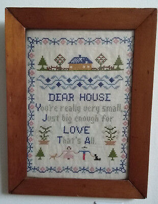 vtg Wood FRAME SAMPLER w/Glass~Dear House CROSS STITCH 17x13 PRIMITIVE FarmHouse