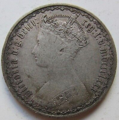 Great Britain 1853 Silver Florin Victoria Gothic Bust