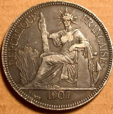 FRENCH INDO-CHINA - Piastre de Commerce - 1907A - Extra Fine - Toned Silver Coin