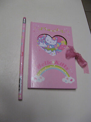 New HELLO KITTY 6 x 4 Pink DIARY /Journal /Notebook Ties w/RIBBON +STICKERS 2007